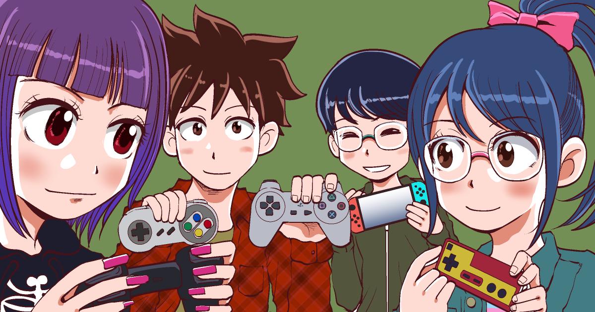 年代別コンピューターゲームで遊ぶ4人の男女